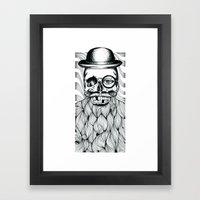 Mr. Skull Beard Framed Art Print