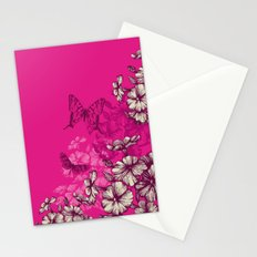 Vintage butterfly wallpaper- magenta Stationery Cards