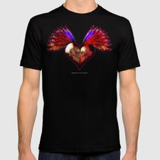 FLYING SKULL HEART SMALL Mens Fitted Tee Black
