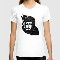 CAT BEARD Womens Fitted Tee White SMALL