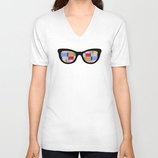 Square Eyes on Grey V-neck T-shirt