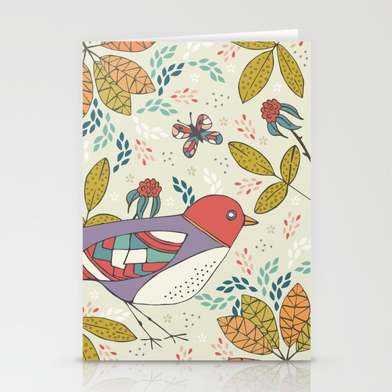 Bird and Butterfly  Stationery Card