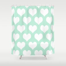 Hearts Of Love Mint Gree… Shower Curtain