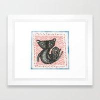 Moe cat Stamp Framed Art Print