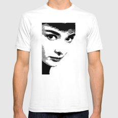 Audrey Hepburn Close Up White Mens Fitted Tee SMALL
