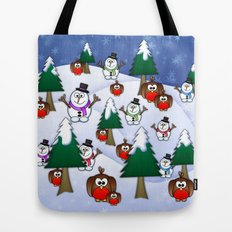 Rocking Robin In A Winter Wonderland. Tote Bag