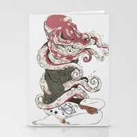 octopus Stationery Cards featuring My head is an octopus by Huebucket