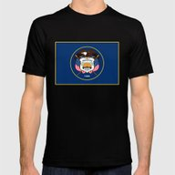 Utah State Flag - Authen… Mens Fitted Tee Black SMALL