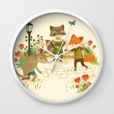 Hopscotch with Critters Wall Clock