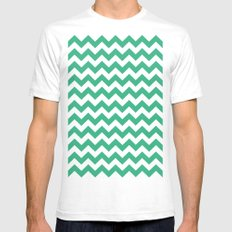 Chevron (Mint/White) Mens Fitted Tee White SMALL
