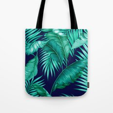 HAWAIIAN GARDEN TROPICAL LEAVES | turquoise navy Tote Bag