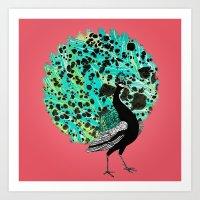 Neon Peacock Art Print