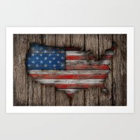 American Wood Flag Art Print