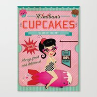 Mimibun's Cupcakes Retro Poster Canvas Print