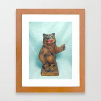 Sexy Hitchhiking Bear Statue Framed Art Print