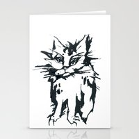 a threatening cat Stationery Cards
