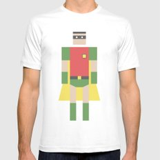 Retro Robin Mens Fitted Tee White SMALL