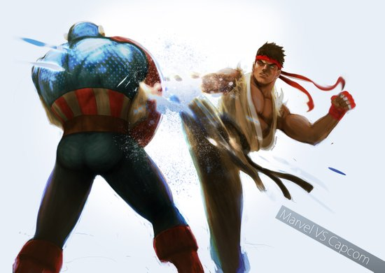 Marvel VS Capcom: Captain America VS Ryu Art Print