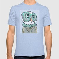Owl wearing glasses II Mens Fitted Tee Tri-Blue SMALL