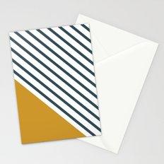 Diagonal Block - Gold/Navy Stationery Cards