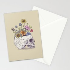 Half Skull Flowers Stationery Cards