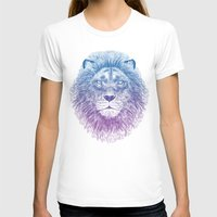 lion T-shirts featuring Face of a Lion by Rachel Caldwell