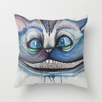 Cheshire Cat Grin - Alic… Throw Pillow
