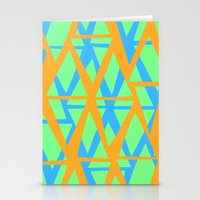 Orange, Green and Blue Diamond Pattern Stationery Cards