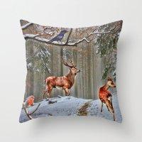 British Woodland Animals Throw Pillow