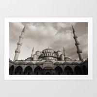 Blue Mosque in Grey Art Print