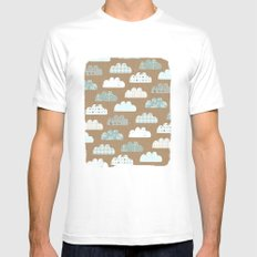 clouds pattern SMALL White Mens Fitted Tee