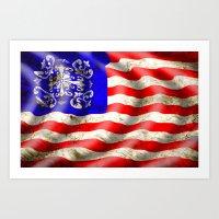 A Wavy American Flag Art Print