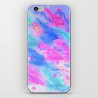 SEEING STARS 1 - Light Blue Pretty Starry Sky Abstract Watercolor Painting Lovely Feminine Pattern iPhone & iPod Skin