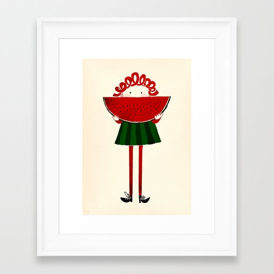 Melone girl Framed Art Print