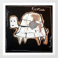 turtle Art Prints featuring turtle by woman