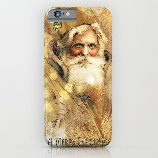 Golden Bokeh vintage Santa Claus iPhone Case by Christine aka stine1 on Society6