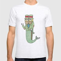 Portrait of a two headed merman Mens Fitted Tee Ash Grey SMALL