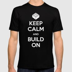 Keep Calm and Build On Black Mens Fitted Tee SMALL