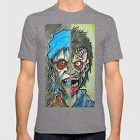 Two Half Zombie Mens Fitted Tee Tri-Grey SMALL