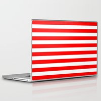 stripes Laptop & iPad Skins featuring Horizontal Stripes (Red/White) by 10813 Apparel