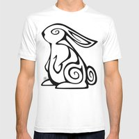Rabbit Swirls Mens Fitted Tee White SMALL