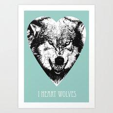 i heart wolves Art Print