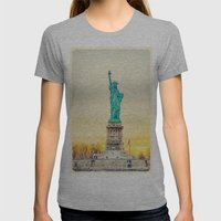 Statue Of Liberty Womens Fitted Tee Athletic Grey SMALL