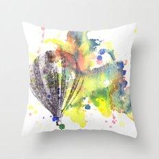 Hot Air Balloon Rising in Color Throw Pillow