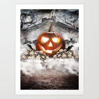 halloween Art Prints featuring Halloween by RIZA PEKER