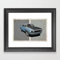 Framed Art Print featuring Ford Mustang by Scott Park Illustrat…