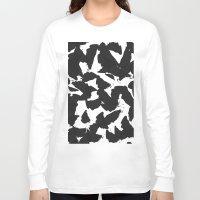 Black Bird Wings On Whit… Long Sleeve T-shirt