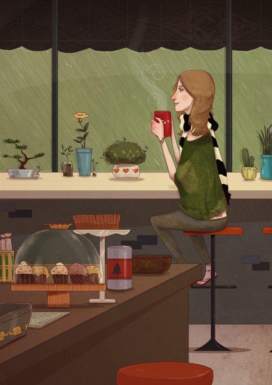 Coffee + Rain Art Print