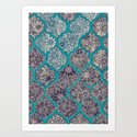 Moroccan Floral Lattice Arrangement - teal Art Print