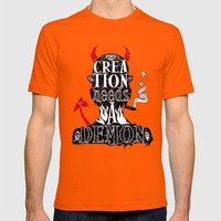 CREATION NEEDS A DEMON Mens Fitted Tee Orange SMALL